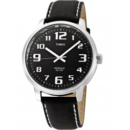 Timex Mens Black Leather Strap Watch T28071