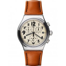 Swatch Mens Leblon Chronograph Leather Strap Cream Dial Watch YVS408