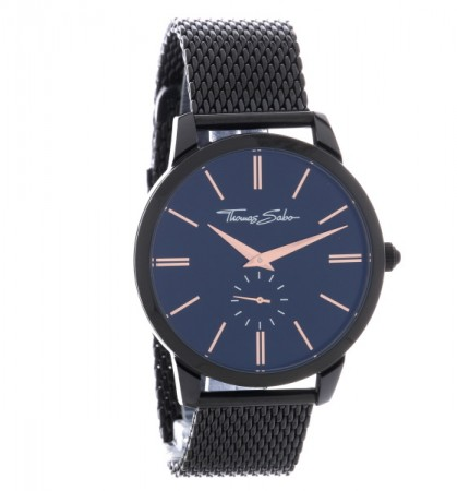 45a9a20cb522d4 Thomas Sabo Mens Rebel Spirit Mesh Bracelet Watch WA0271-202-203-42 MM