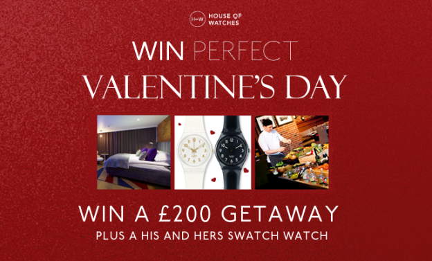 Win a £200 getaway and 2 Swatch watches this Valentine's