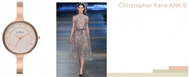Rose gold glory paired with Christopher Kane
